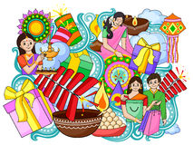 India festival of Lights Happy Diwali doddle background. Vector illustration of India festival of Lights Happy Diwali doddle background Royalty Free Stock Photo