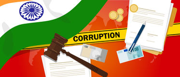 India fights corruption money bribery financial law contract police line for a case scandal government official. Vector Royalty Free Stock Photo