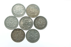 India five rupee coins Royalty Free Stock Image