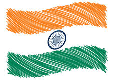 India flag art. Scribbled India flag art, vector royalty free illustration