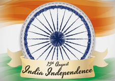 India Flag with Ashoka Chakra in Needlework Design for Independence Day Stock Photo
