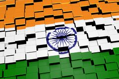 India flag background formed from digital mosaic tiles, 3D rendering. Modern 3D rendered concept of numerous square tiles sliding together to form the national Stock Image