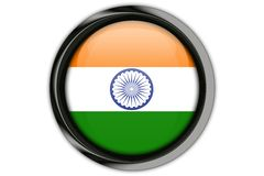 India flag in the button pin Isolated on White Background Stock Images