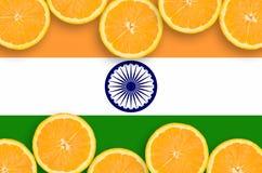 India flag in citrus fruit slices horizontal frame stock photos