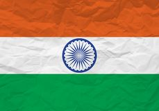 India flag crumpled paper stock illustration