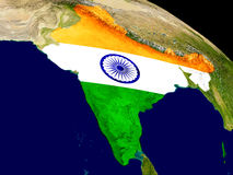 India with flag on Earth Royalty Free Stock Images