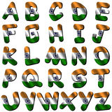 India flag font. Isolated on white illustration stock illustration