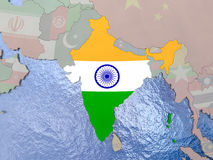 India with flag on globe Royalty Free Stock Photos