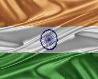 India flag with a glossy silk texture. Stock Photos