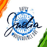 India flag  illustration and hand drawn calligraphy letter Royalty Free Stock Image