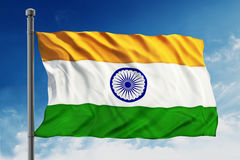 India flag. Isolated on blue sky background Royalty Free Stock Photography
