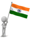 India flag. A little 3d man holding flag of the democratic republic of India, white background royalty free illustration