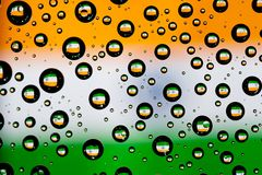 India flag. Reflection of India flag in water droplets Royalty Free Stock Photo