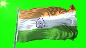 India flag seamless looping 3D rendering video. Beautiful textile cloth fabric loop waving