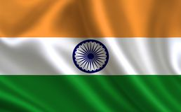 India flag . A series of `Flags of the world.`   The country - India flag Royalty Free Stock Photography