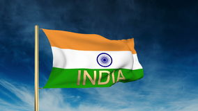 India flag slider style with title India. Waving stock footage
