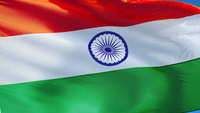 India flag in slow motion seamlessly looped with alpha stock video footage