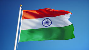 India flag in slow motion seamlessly looped with alpha stock footage