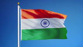 India flag in slow motion seamlessly looped with alpha stock video