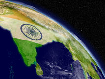 India with flag from space Stock Photography