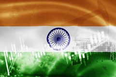 India flag, stock market, exchange economy and Trade, oil production, container ship in export and import business and logistics. Indian, asia, asian vector illustration