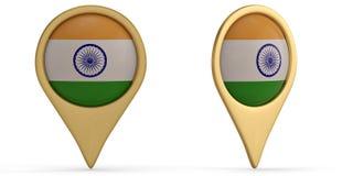 India flag symbol isolated on white background. 3D illustration. India flag symbol isolated on white background. 3D illustration royalty free illustration