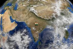 India flag text on globe Stock Image