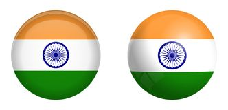 India flag under 3d dome button and on glossy sphere / ball.  vector illustration