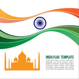 India flag wave and Taj Mahal symbols Stock Photo