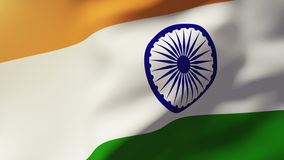 India flag waving in the wind. Looping sun rises stock video footage