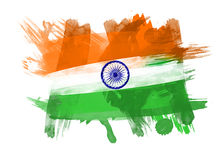 India Flag in White Background Stock Photo