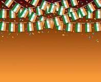 India flags garland Dark background with confetti. Hang bunting for Indian independence Day celebration template banner, Vector illustration Royalty Free Stock Images