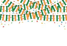 India flags garland white background with confetti. Hang bunting for Indian Independence Day celebration template banner,  Vector illustration Royalty Free Stock Images