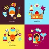 India flat set. India culture ramadan tradition flat set isolated vector illustration Stock Photo