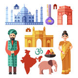 India flat vector icons with national landmarks for traveling concept Royalty Free Stock Images