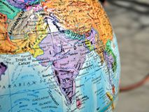 India focus macro shot on globe map for travel blogs, social media, website banners and backgrounds. India focus macro shot on globe map for travel blogs stock photo