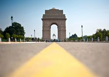 India Gate. Crowds of people around India Gate. Memorial to Indian and British soldiers who died in World War 1 and the 3rd Afghan War. New Delhi, India stock photography