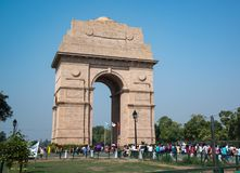 The India Gate also called All-India War Memorial Arch in New Delhi stock photography
