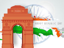 India gate with Ashoka Wheel national flag color for Indian Repu Royalty Free Stock Photos