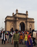 India Gate in Bombay. Located in the Indian city of mumbai Apollo Bunder and facing Bombay bay, is a fusion of India and Persia culture building arch, 26 meters Stock Photo