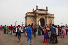India Gate in Bombay. Located in the Indian city of mumbai Apollo Bunder and facing Bombay bay, is a fusion of India and Persia culture building arch, 26 meters Stock Image