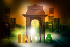 India Gate with City skyline Stock Photography
