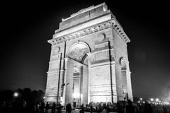 India Gate Delhi. India Gate beauty at night Delhi black and white Stock Image