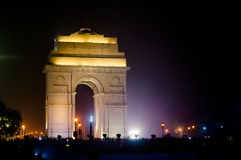 India Gate Delhi at night with lights Royalty Free Stock Photos
