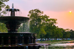 India gate fountain at dusk Royalty Free Stock Photos