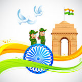 India Gate on Indian Flag Royalty Free Stock Image