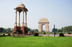 India Gate. A landmark, was built in the memory of more than 90,000 Indian soldiers who lost their lives during the Afghan Wars and World War I Royalty Free Stock Photo