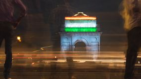 India gate during night time. Chaos during night. India gate during night time royalty free stock photo