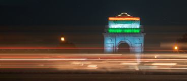 India gate during night time. Chaos during night. India gate during night time stock photos