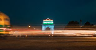 India gate during night time. Chaos during night. India gate during night time stock images